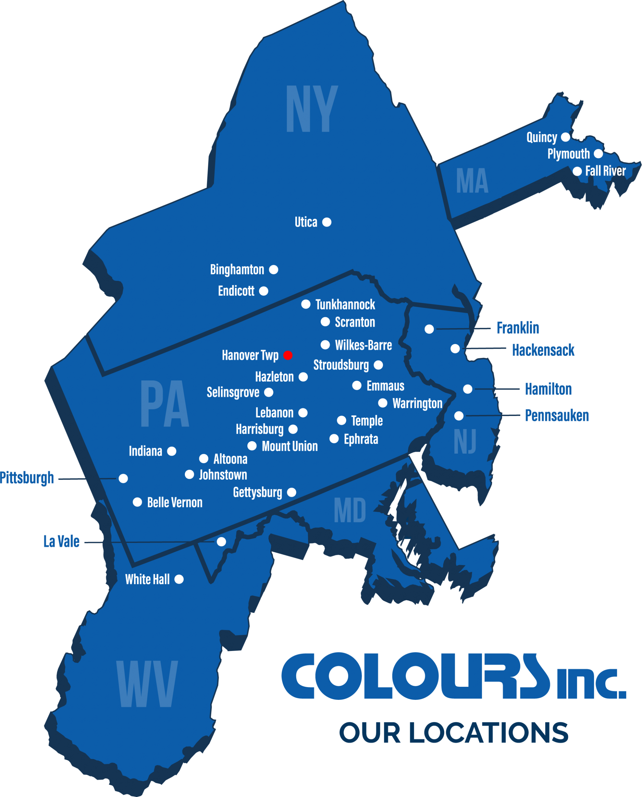 3D Blue Map of Colours Inc Store Locations with plot points for stores
