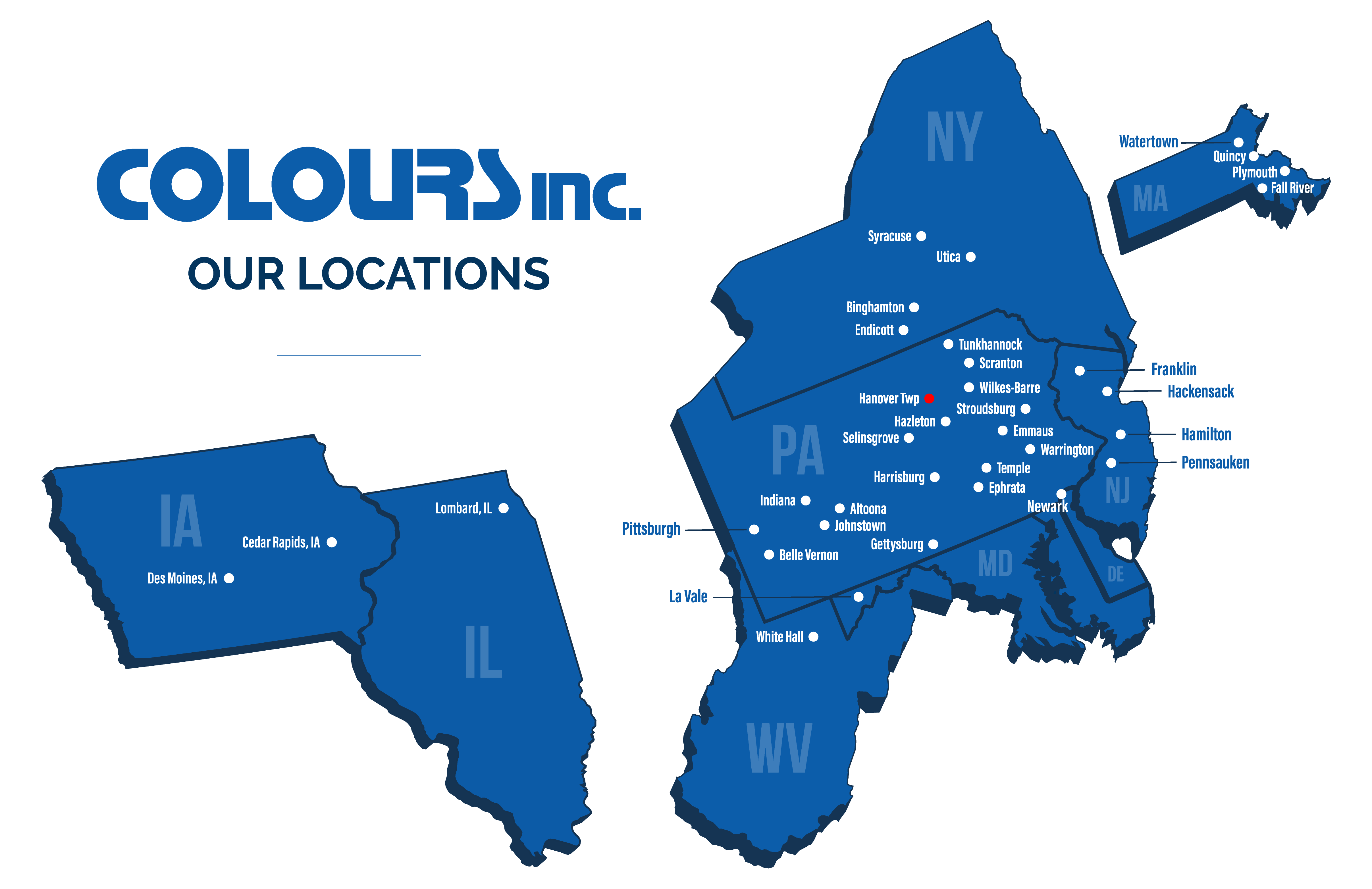 Colours Inc. Locations Map